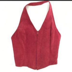 Leather zip up halter top